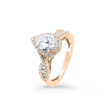 Twist Filigree Pear Halo Diamond Engagement Ring