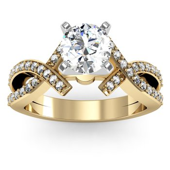 Intertwined Pave Diamond Engagement Ring