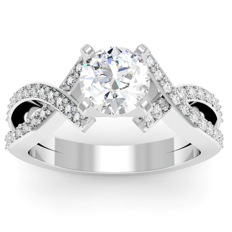 California Coast Designs Intertwined Pave Diamond Engagement Ring