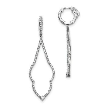 Sterling Silver Rhodium-plated CZ Hinged Hoop Dangle Earrings