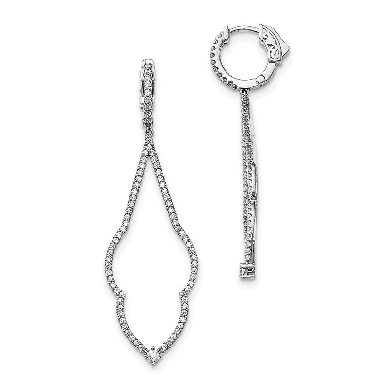 Fine Jewelry by JBD Sterling Silver Rhodium-plated CZ Hinged Hoop Dangle Earrings
