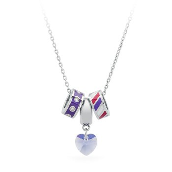 316L stainless steel, coloured enamels and coloured crystals Swarovski® Elements
