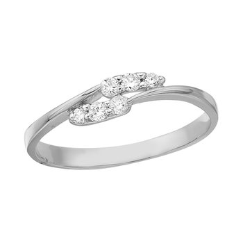 14K White Gold and Diamond Promise Ring