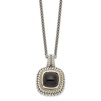 Sterling Silver w/14k Antiqued Cabochon Onyx Necklace