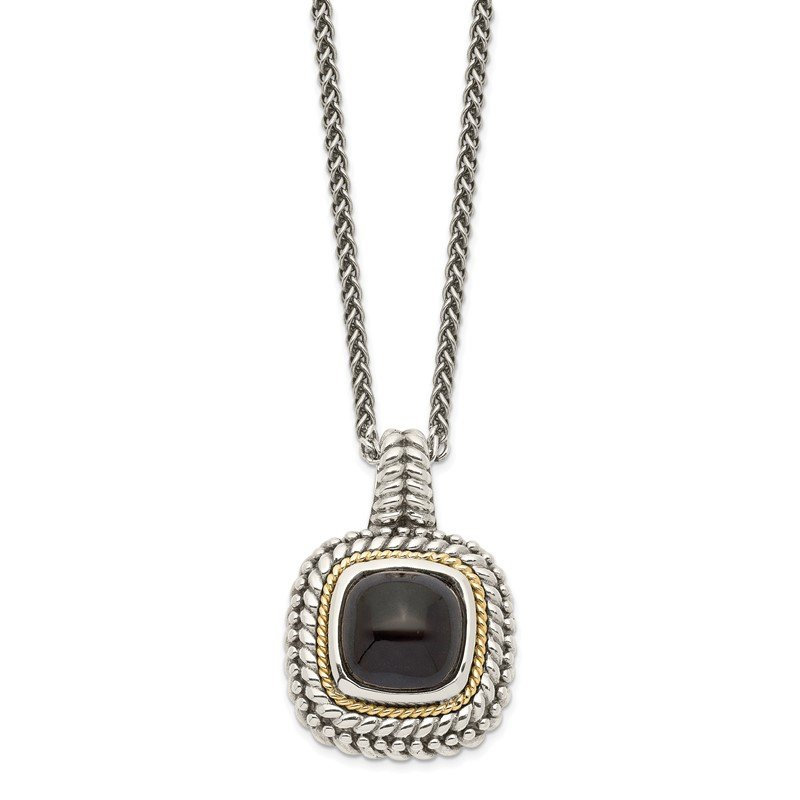 Quality Gold Sterling Silver w/14k Antiqued Cabochon Onyx Necklace