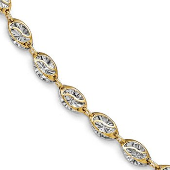 Leslie's 14k w/White Rhodium Polished and Diamond-cut Bracelet