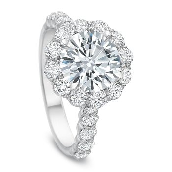 18K White Gold  halo semi mount for 2.00 ct Round center