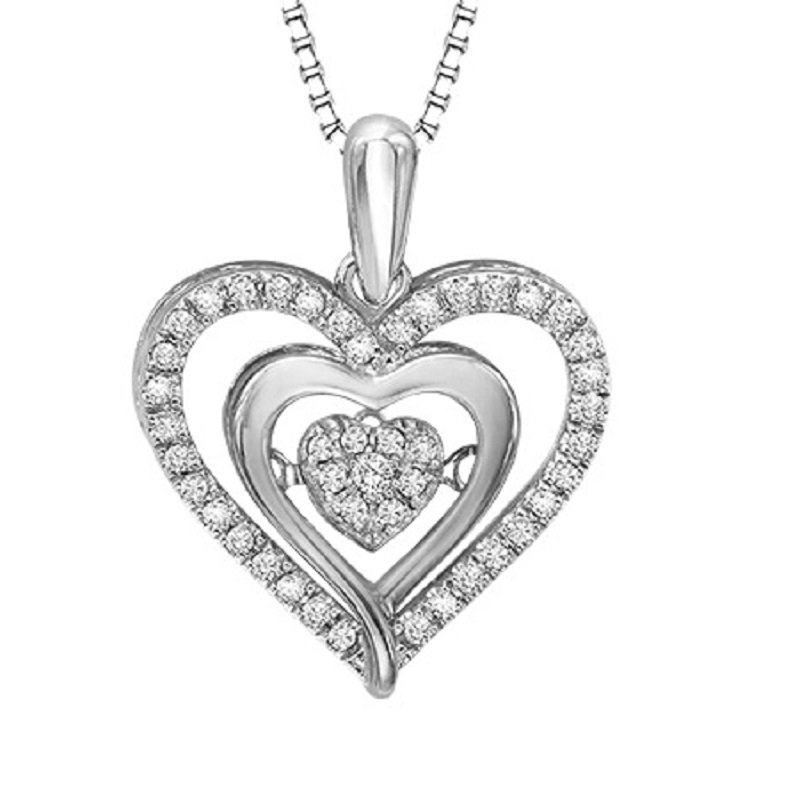 Rhythm of Love Silver & 10K Diamond Rhythm Of Love Pendant 1/5 ctw