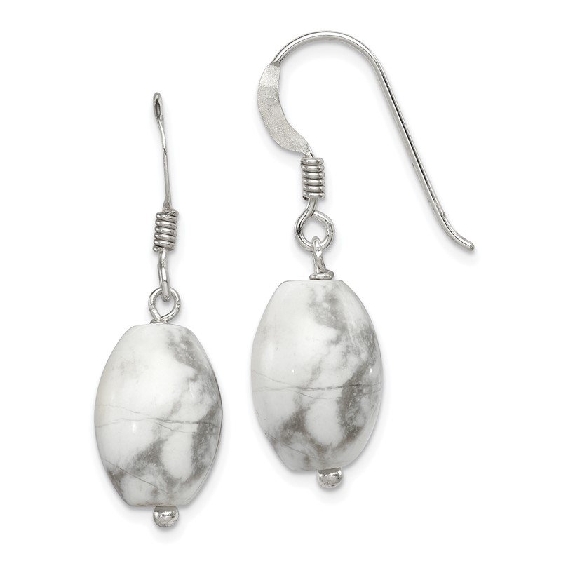 Quality Gold Sterling Silver White Howlite Earrings