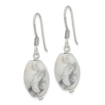 Sterling Silver White Howlite Earrings