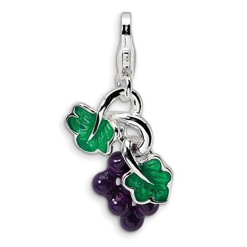 Sterling Silver 3-D Enameled Grapes w/Lobster Clasp Charm