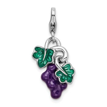 Sterling Silver RH 3-D Enameled Grapes w/Lobster Clasp Charm