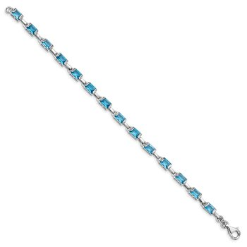 Sterling Silver Rhodium-plated Rectangular Blue Topaz Bracelet