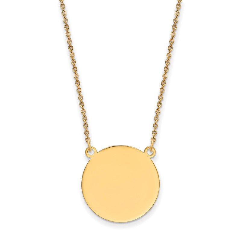 Quality Gold 14k Plain .027 Gauge Circular Engravable Disc 18in Necklace
