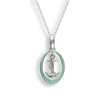 Green Anchor Necklace.Sterling Silver