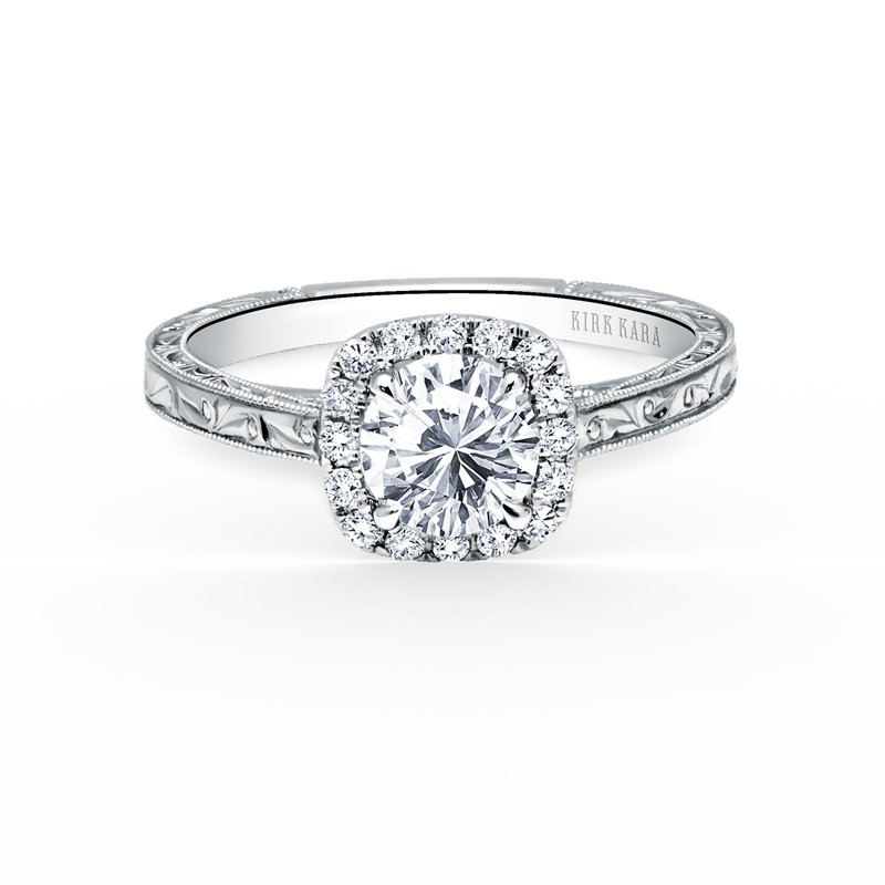 Halo Engraved Diamond Engagement Ring
