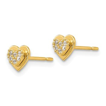 14k Madi K CZ Children's Heart Post Earrings