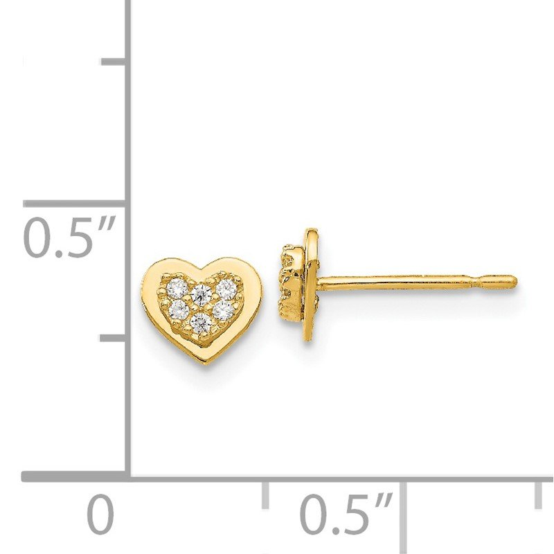 Quality Gold 14k Madi K CZ Children's Heart Post Earrings