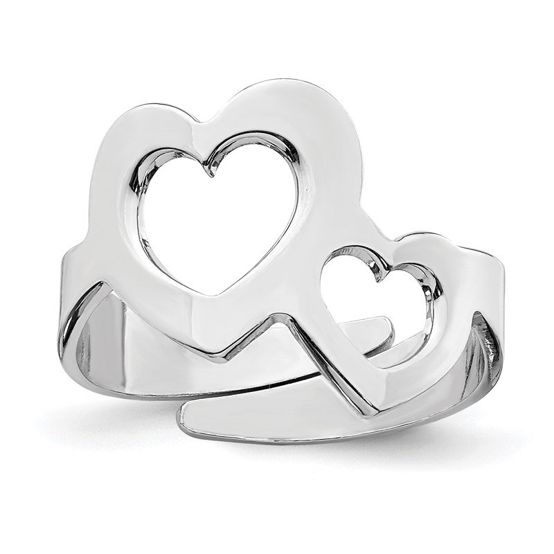 Quality Gold Sterling Silver Rhodium-plated Two Hearts Adjustable Ring