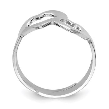 Sterling Silver Rhodium-plated Two Hearts Adjustable Ring