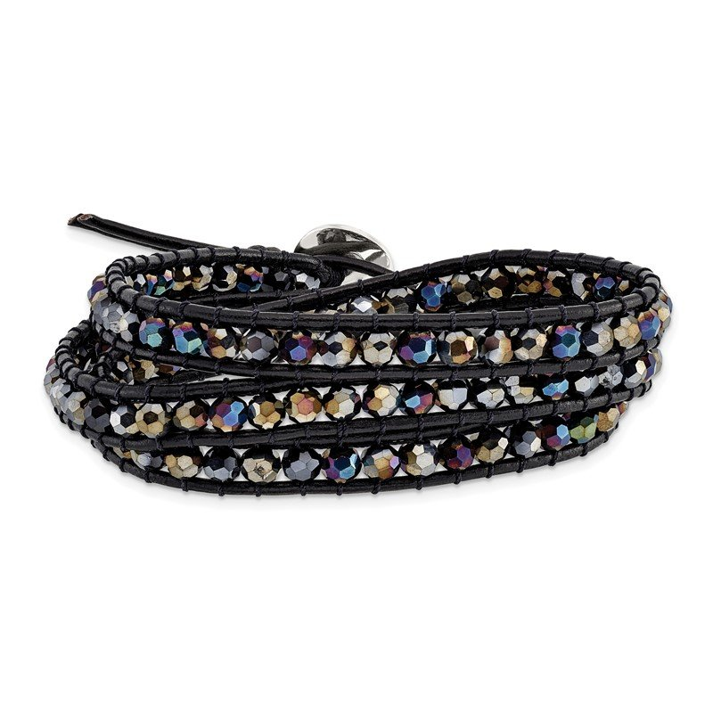 Quality Gold Dark Grey Aurora Borealis Crystal Bead and Leather Multi-wrap Bracelet
