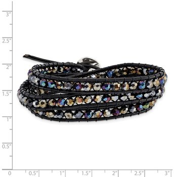 Dark Grey Aurora Borealis Crystal Bead and Leather Multi-wrap Bracelet