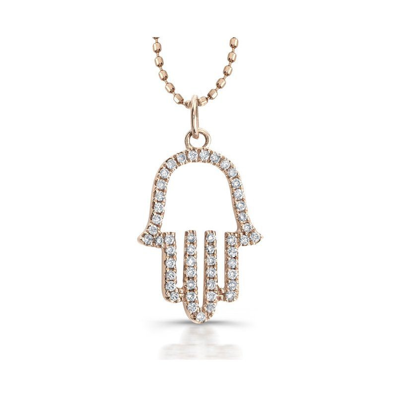 MK Diamonds Rose Gold Piety Open Hamsa Pendant