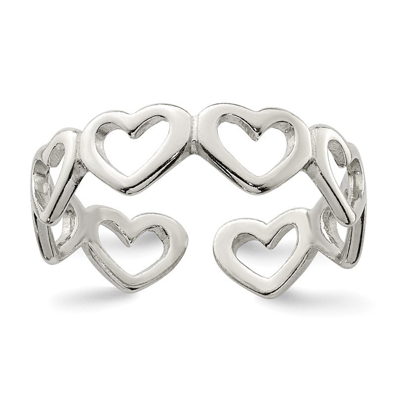 Quality Gold Sterling Silver Cut-out Hearts Toe Ring