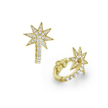 14K Diamond Starburst Earring Hoop