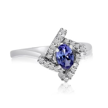 14k White Gold Tanzanite and Diamond Fashion Ring