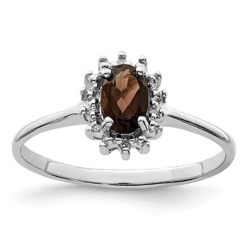 Quality Gold Sterling Silver Rhodium Smoky Quartz Diamond Ring