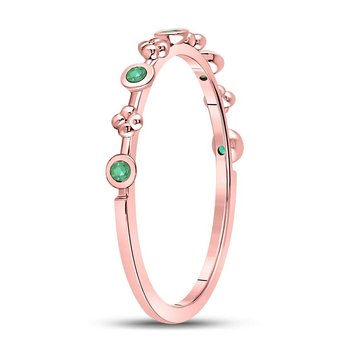10kt Rose Gold Womens Round Emerald Dot Flower Stackable Band Ring 1/12 Cttw
