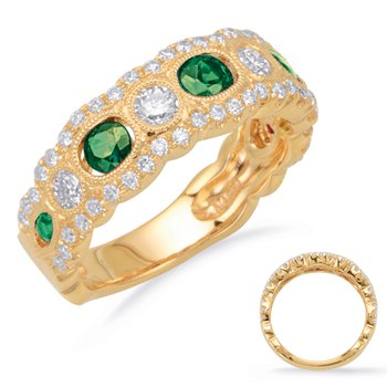 Yellow Gold Emerald & Diamond Band
