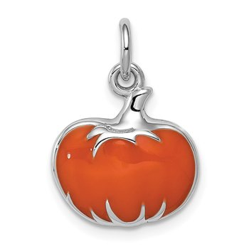Sterling Silver Rhodium-plated Orange Enameled Pumpkin Charm