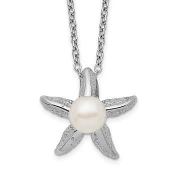 Sterling Silver Rho-plat 5-6mm White Button FWC Pearl Starfish Necklace