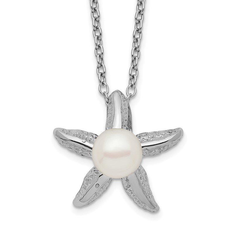 Quality Gold Sterling Silver Rho-plat 5-6mm White Button FWC Pearl Starfish Necklace
