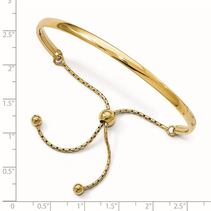 Leslie's Leslie's Sterling Silver Gold-plated Polished Adjustable Bangle