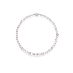 Mikimoto 9x7mm Akoya Cultured Pearl, Graduated 18'' Strand with Diamond Rondels - White Gold Clasp