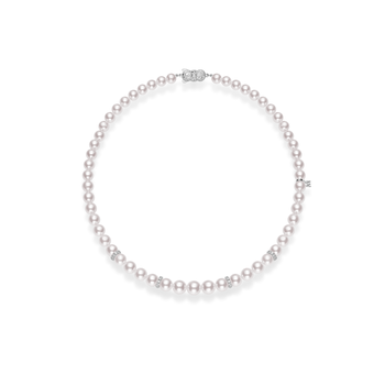 9x7mm Akoya Cultured Pearl, Graduated 18'' Strand with Diamond Rondels - White Gold Clasp