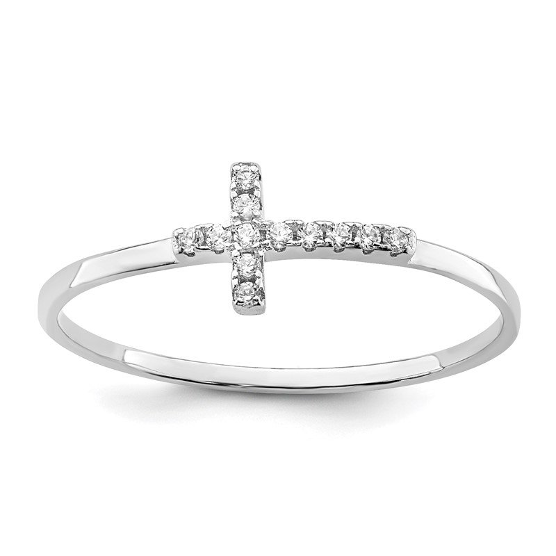 Quality Gold Sterling Silver Rhodium-plated CZ Side Cross Polished Ring