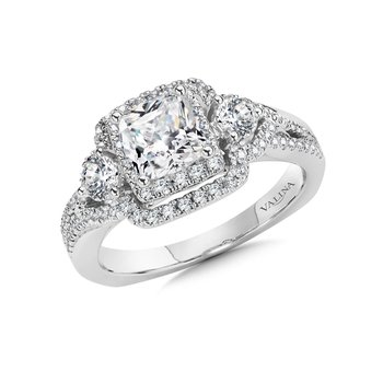 Cushion Halo Engagement Ring Mounting in 14K White Gold (.71 ct. tw.)