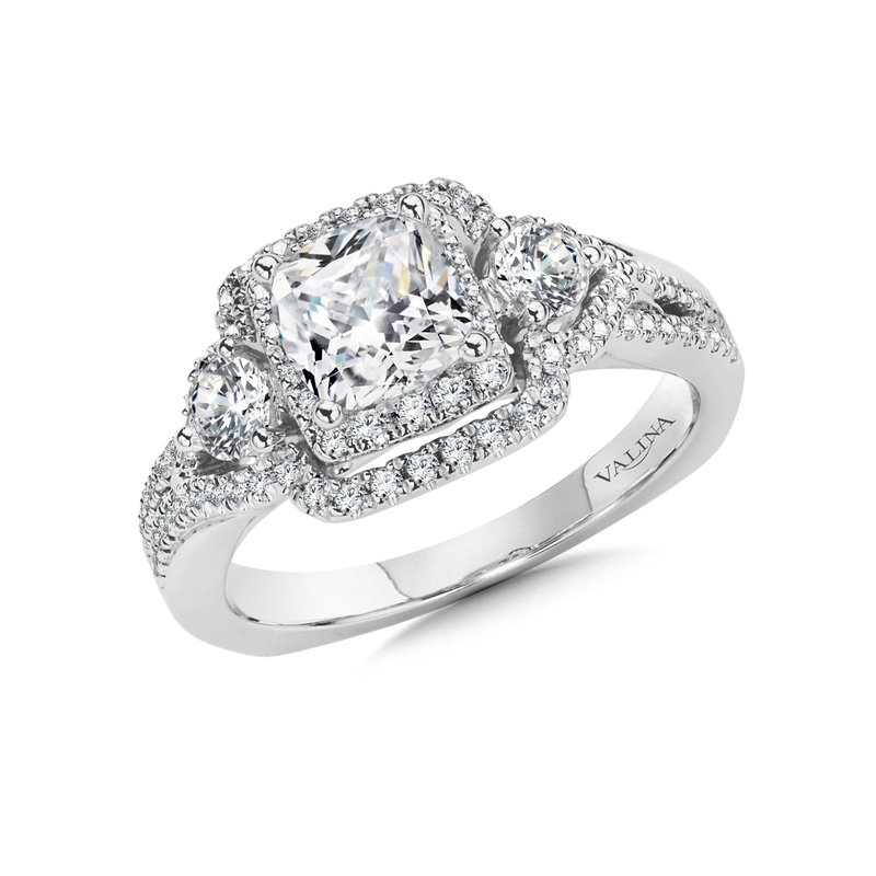 Valina Cushion Halo Engagement Ring Mounting in 14K White Gold (.71 ct. tw.)