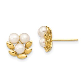 14k 3-4mm White Button Freshwater Cultured Pearl Post Earrings