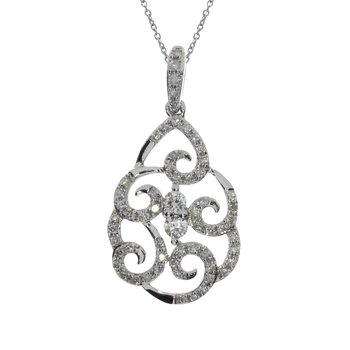 14K White Gold Teardrop Diamond Fashion Pendant