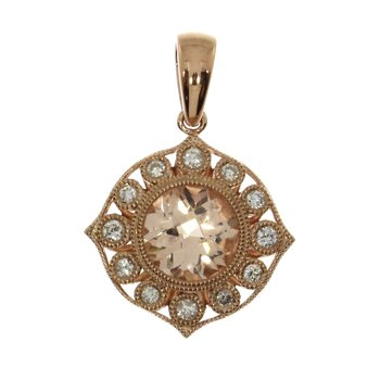 14k Rose Gold Round Morganite and Diamond Pendant