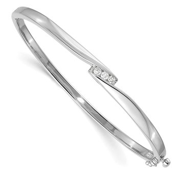 14k White Gold AA Diamond Hinged Bangle