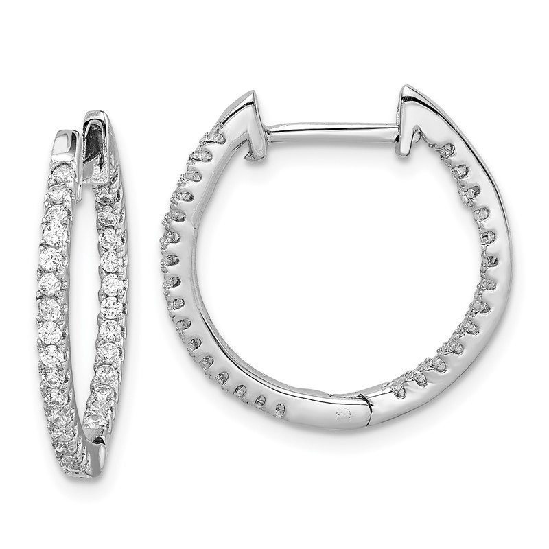 Lester Martin Online Collection Sterling Silver Rhodium-plated CZ In/Out Hinged Hoop Earrings