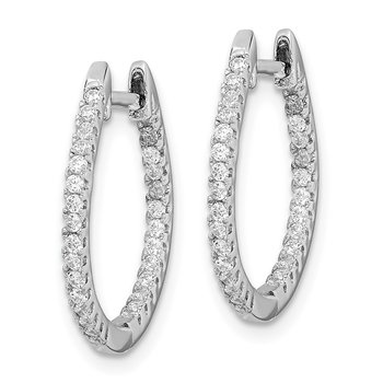 Sterling Silver Rhodium-plated CZ In/Out Hinged Hoop Earrings