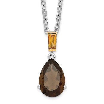 SS & 14k True Two-tone Accent Smoky Quartz and Citrine Necklace