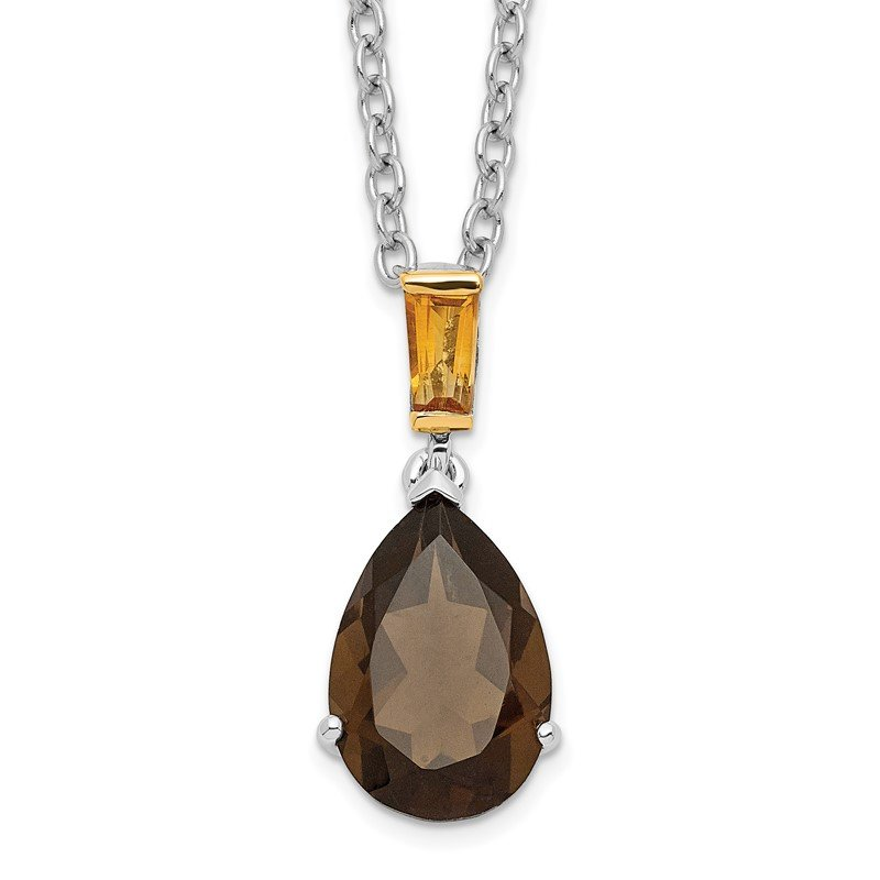 Quality Gold SS & 14k True Two-tone Accent Smoky Quartz and Citrine Necklace